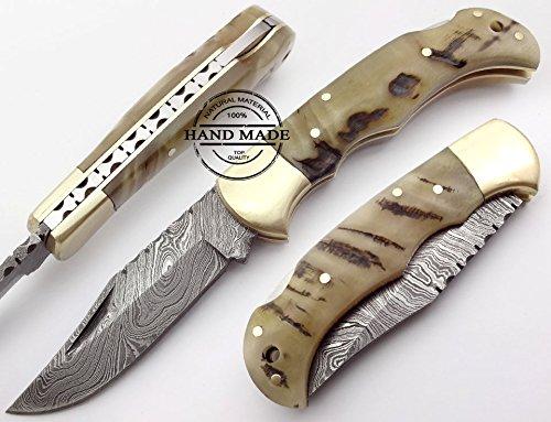Ram Horn 6.5'' 100% Handmade Damascus Steel Folding Pocket Knife 100% Prime Quality Back Lock ()