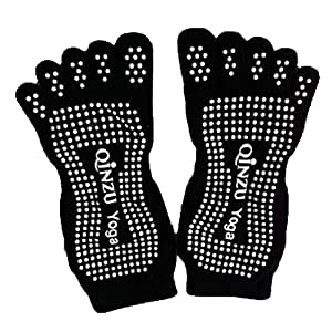 Professional Women's Non-Slip Socks Full Toe Yoga Socks Pilates Socks,Black