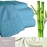 Bamboo Living Eco Friendly Egyptian Comfort Bedding 6 Piece Sheet Set (w/4 Pillowcases) (Blue, Queen)