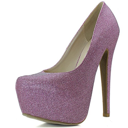 Sexy High Platform Heel Pump Shoes Women's Extreme Stiletto Pink Glitter Pointed Toe Fashion Hidden High WY0WpwqfBg