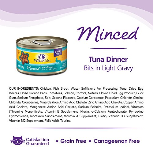 Wellness Natural Grain Free Wet Canned Cat Food, Minced Tuna Dinner, 3-Ounce Can (Pack of 24)