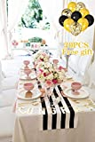 SoarDream Classical Black and White Table Runner 2 Pieces of 12''x115'' Durable Striped Table Runner for Wedding Party College Decorations