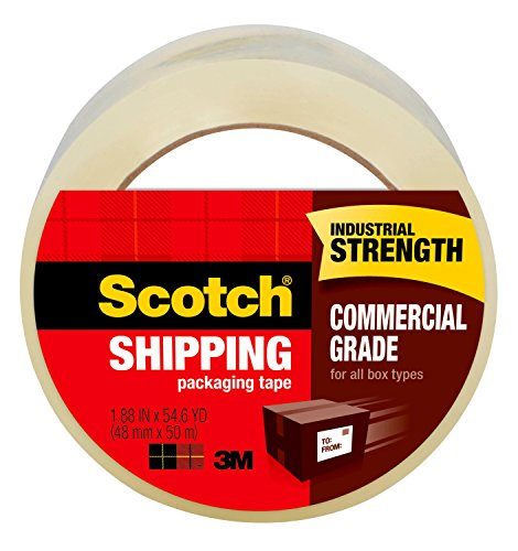 Scotch Commercial Grade Shipping Packaging Tape, 1.88 in x 54.6 yd, 1 Roll, Clear (3750)