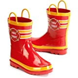 Fire Chief Boys Red Rain Boots (9/10 US Toddler)