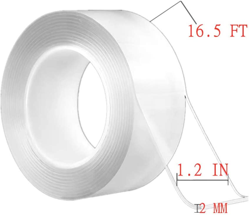 Paste Items etc Tape for Home Supplies fix Carpet mats Double Sided Adhesive Grip Tape 2mm 5M//16.5Ft, Washable Adhesive Tape,Reusable Traceless Tape,Free to Remove