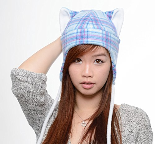 Blue Plaid Cat Ear Hat Aviator Earflaps Feline Kitty Kitten Fleece Anime Manga Ski Snowboarding Convention Goth Punk Rave Costume Cosplay Halloween cat Christmas Gift