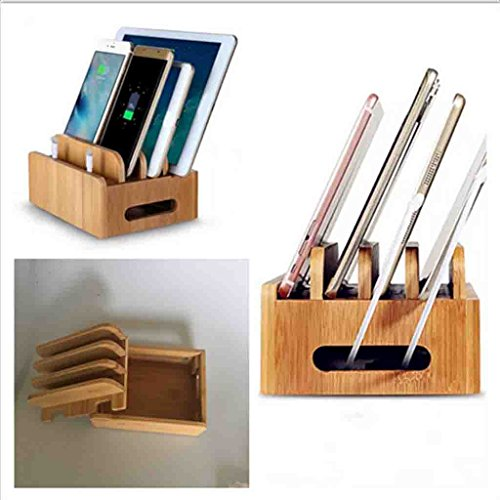 MagiDeal Cord Organizer, 4 Slots Bamboo Stand Multi-device Desktop Cords Organizer Dock Charging Station Holder with Built-in Insert Slots for Smartphones, Tablets and Laptops by MagiDeal (Image #8)'