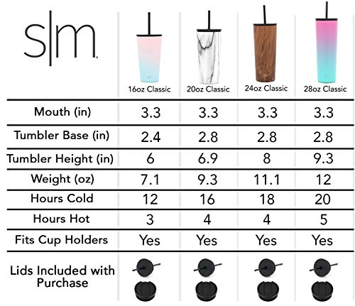 Simple Modern 16oz Classic Tumbler with Straw Lid & Flip Lid - Travel Mug Gift Vacuum Insulated Coffee Beer Pint Cup - 18/8 Stainless Steel Water Bottle Shimmer: Selenite