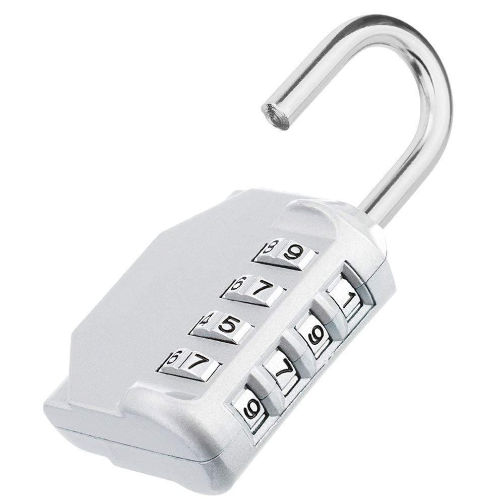 Tuu Combination Lock,Weatherproof Metal Gym Lock School Lock (Silver)