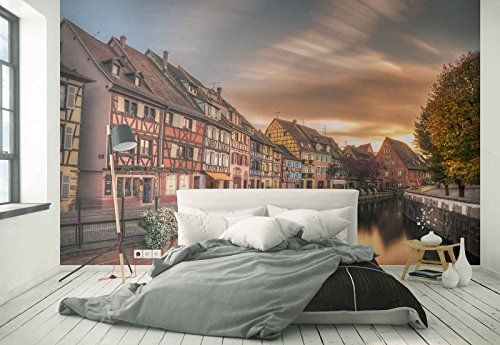 Photo wallpaper wall mural - River Canal Row Colorful Houses - Theme Travel & Maps - L - 8ft 4in x 6ft (WxH) - 2 Pieces - Printed on 130gsm Non-Woven Paper - 1X-1167957V4 by Fotowalls Photo Wallpaper Murals