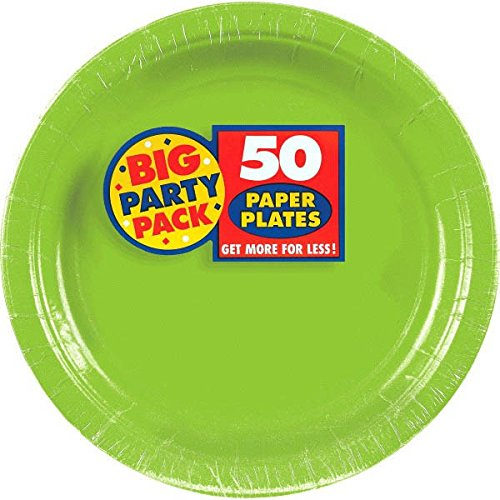Amscan AMI 650013.53 Amscan Kiwi Big Party Pack Dinner Plates (50 Count) 1 green  sc 1 st  Amazon.com & Colored Paper Plates: Amazon.com