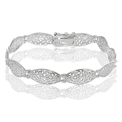 Hoops & Loops Sterling Silver Polished Vintage Oval Filigree Bracelet