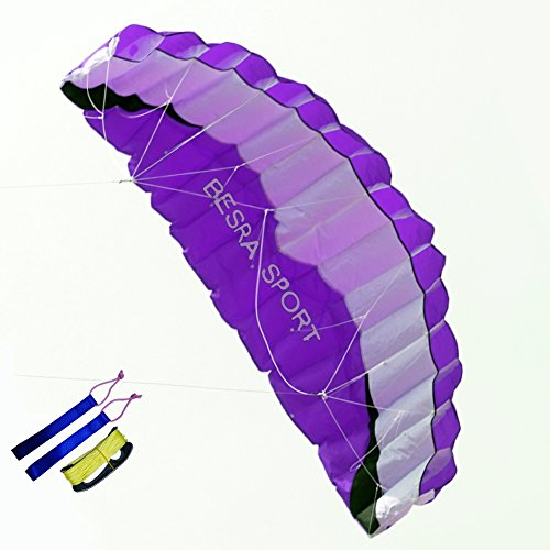 Besra New Arrival Huge 102inch/74inch Dual Line Parachute Stunt Kite with Flying Tools 2.6m/1.9m Power Parafoil kites Outdoor Fun Sports for Beach & Park (102inch Purple)
