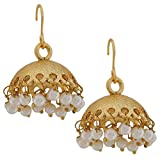 Designer Indian Jewelry Fab Pearl Jhumki Earrings White Gold by Maayra MY3825