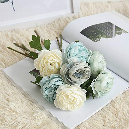 Gotian Artificial Fake Western Rose Flower Peony Bridal Bouquet Wedding Home Decor, Well Made and Vibrantly Colored, Looks Realistic and Beautiful, for Decorating Party, Home and Garden (Gray) from Gotian