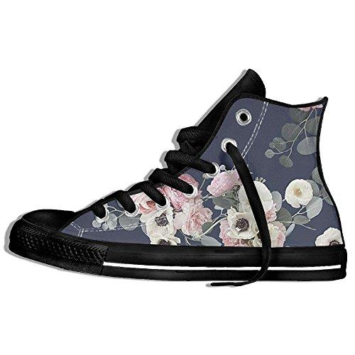 Baskets Montantes Classiques Toile Chaussures Anti-dérapant Floral Décontracté Marche Pour Hommes Femmes Noir