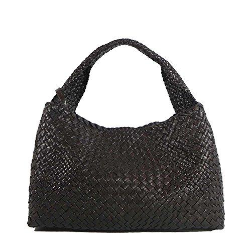 marron en tissé luxe seau main la foncé sac bandoulière cuir à de italien Ghibli sac à Sfwq1zq6