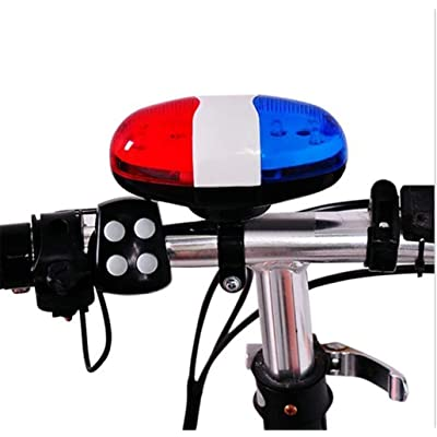 scooter Blue Red 6 LED 4 Tone Horn for Bicycle Bike Bells Police Car LED Bike Light Electronic Siren for Kids Bike Accessories: Sports & Outdoors