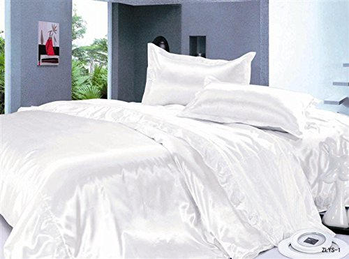 Reliable Bedding Luxurious Ultra Soft Silky Satin 7-Piece Bed Sheet Set with Duvet Set Queen, White (Woven Sets Sheet Satin)