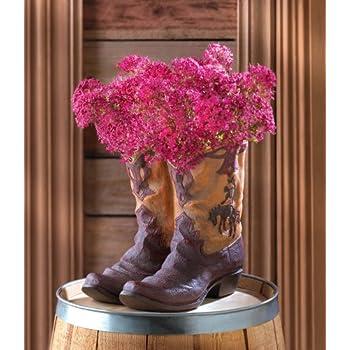 a3d8f1b9881 Amazon.com: NEW RUSTIC COWBOY BOOT PLANTER FLOWER POT WESTERN GARDEN ...