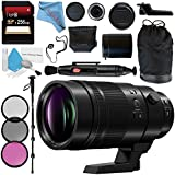 Panasonic Leica DG Elmarit 200mm f/2.8 POWER O.I.S. Lens (H-ES200) + 77mm 3 Piece Filter Kit + Deluxe 70 Monopod + 256GB SDXC Card + Lens Pen Cleaner + Fibercloth + Lens Capkeeper Bundle