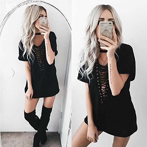 Bandage Choker Imixcity Bodycon Longue Sexy Blouse Out Femmes Cou V Courtes Robe Mini T Manches Burgundy Hollow Crisscross Shirt 4HxR8qpwx