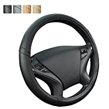 NEW ARRIVAL- CAR PASS Skyline Delux PU Leather Universal Fit Steering Wheel Cover (Full Black)