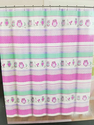 Cynthia Rowley Owls and Birds Shower Curtain in Pink and Green 72'' x 72''