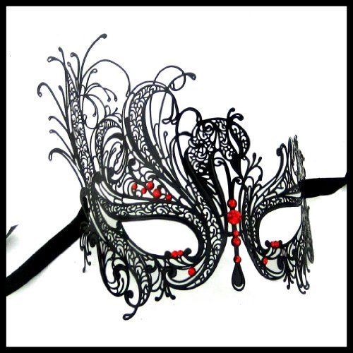 Luxury Mask Women's Swan Metal Filigree Laser Cut Venetian Masquerade Mask, Black/Red Stones, One Size