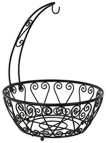 Review SimpleHouseware Fruit Basket Bowl with Banana Tree Hanger, Bronze