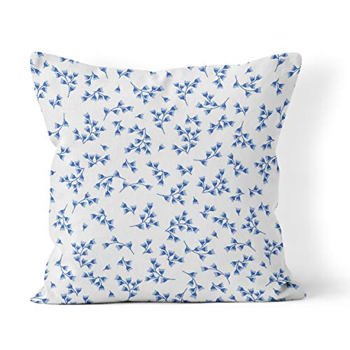 Wesbin Throw Pillow Cover Floral Porcelain Blue Flowers of Cornflower Delicate and White New Living Hidden Zipper Home Sofa Decorative Cushion 18x18 Inch Square Design Print