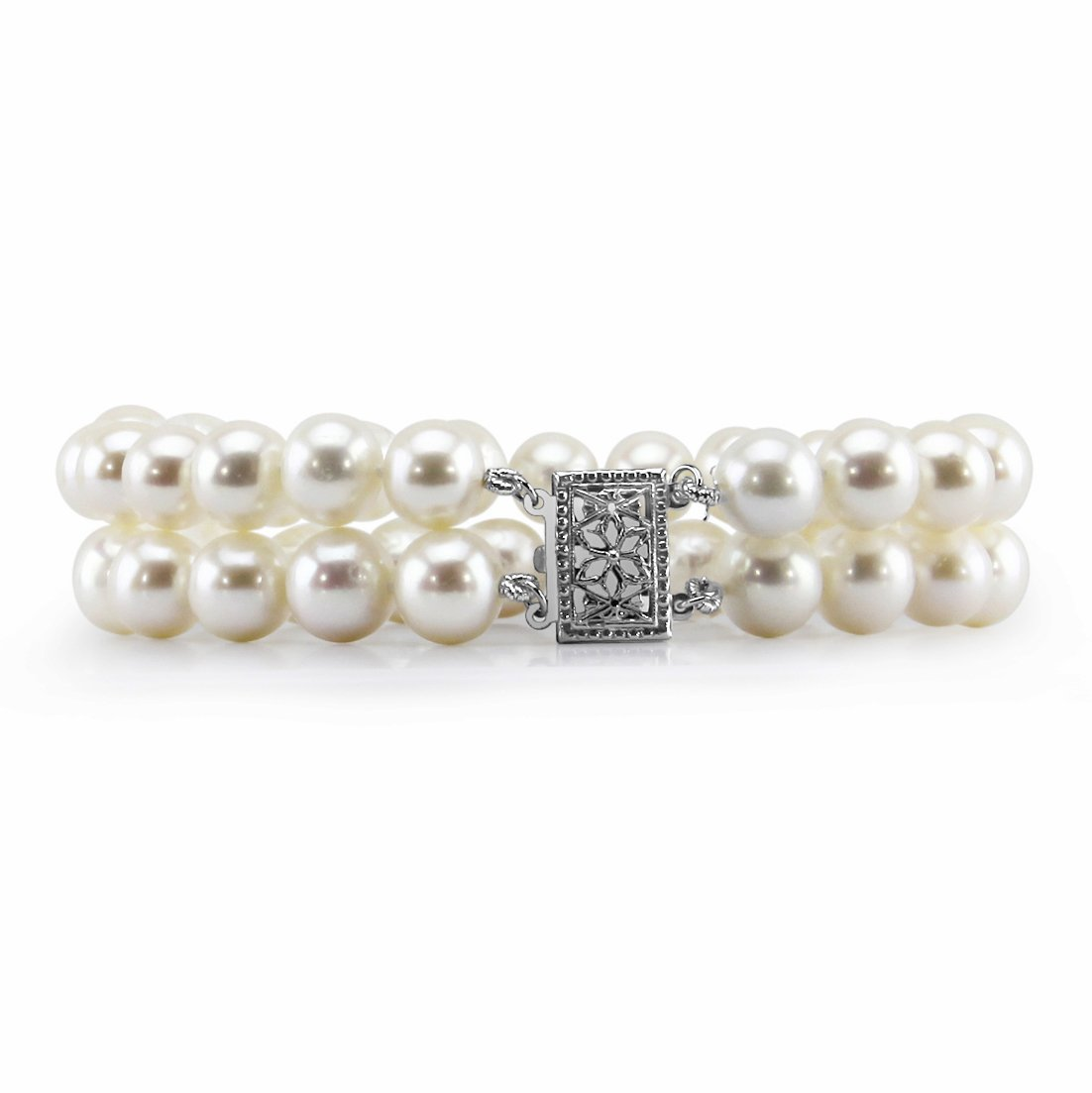 14K White Gold 8.0-9.0mm 2 Row White Freshwater Cultured Pearl Bracelet 7.5'' Length - AAA Quality