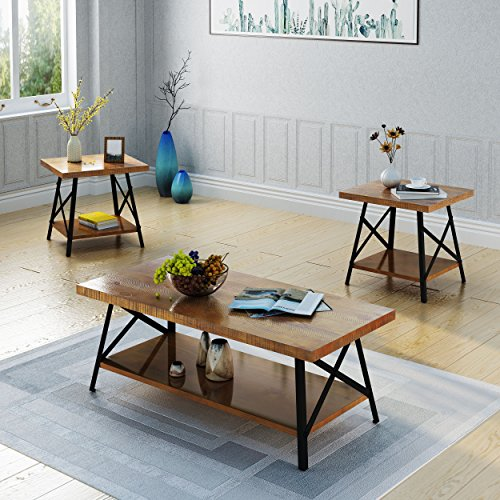 Great Deal Furniture 304292 Beatrice Industrial 3 Piece Faux Wood Coffee and End Table Set, Natural Finish, -