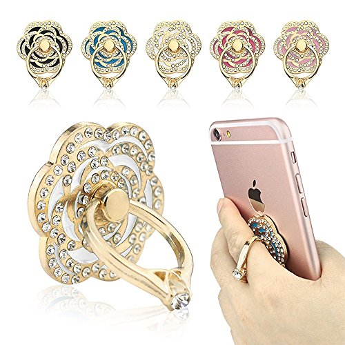 Phone Ring, ECVILLA Luxury Rose Shape Universal Phone Holder, 360° Rotation/3D Ring Grip for iPhone iPad Samsung LG HTC Nokia Huawei Tablet (Shape Cell Phone)