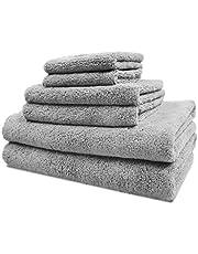 Polyte Oversize, 60 x 30 in, Quick Dry Lint Free Microfiber Bath Towel Set, 6 Piece (Gray)