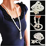Bluetooth Headphones for Apple iPhone Best gifts Necklace Bluetooth Headset Wireless Ear Buds for Girls Boys Women Men Handmade Woven White Pearls with Tassels Necklace Ear Buds