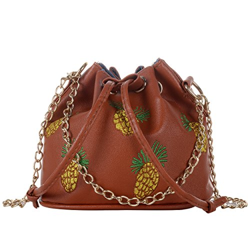 QZUnique Drawstring Cross Messenger Mini Cute Pattern Bucket Chain Pineapple Handbags Brown Satchel Metal Body Shape bag r00tqx