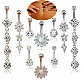 FIBO STEEL 10 Pcs 14G Stainless Steel Dangle Belly Button Rings Navel Barbell Body Jewelry Piercing