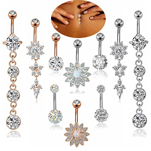 (FIBO STEEL 10 Pcs 14G Stainless Steel Dangle Belly Button Rings Navel Barbell Body Jewelry Piercing)