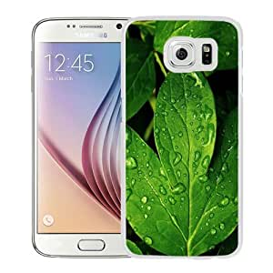 NEW Unique Custom Designed Samsung Galaxy S6 Phone Case With Morning Dew Green Leaf_White Phone Case