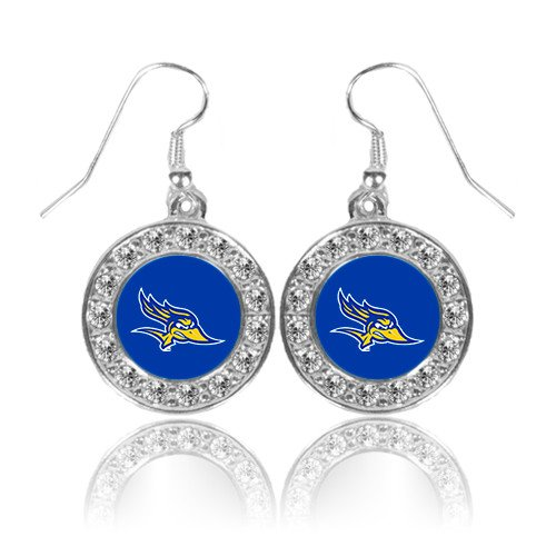 Primary Logo Earrings (Cal State Bakersfield Crystal Studded Round Pendant Silver Dangle Earrings 'Primary Logo')