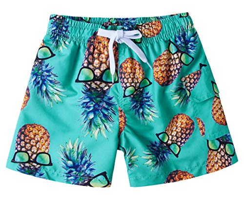 BFUSTYLE 4-6t Kids Boy Quick Dry Mesh Lining Green Glasses Pineapple Tropical Hawaiian Surfing Board Trunks Swimming Bathing Shorts Casual Comfy Homewear Costume for Summer Daily ()