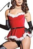 IF FEEL Faux Fur Trim Velvet Bustier Sweet Santa Costume Sexy Christmas ((US 8-10)M - Red)