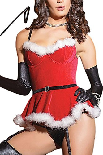 IF FEEL Faux Fur Trim Velvet Bustier Sweet Santa Costume Sexy Christmas ((US 8-10)M, Red) (Geisha Costume Australia)