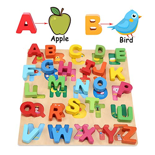 Jamohom Wooden Alphabet Puzzle, ABC Letter Puzzles for Toddlers 1 2 3 Years Old, Educational Learning Toys for Toddlers…
