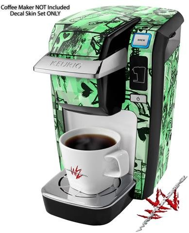 Scene Kid Sketches Green - Decal Style Vinyl Skin fits Keurig K10 / K15 Mini Plus Coffee Makers (KEURIG NOT INCLUDED)
