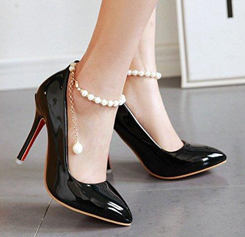 Aisun Donna Sexy Perline Catene Punta A Punta Brunito Fibbia Stiletto Tacco Alto Cinturino Alla Caviglia Pompe Scarpe Nere