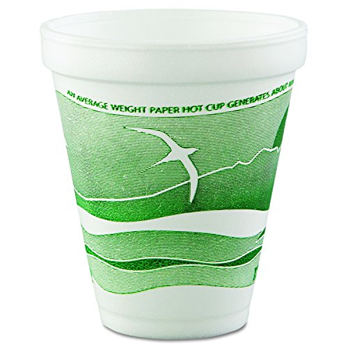 (Dart 12J16H Horizon Hot/Cold Foam Drinking Cups, 12oz, Green/White, 25 Per Bag (Case of 40 Bags))