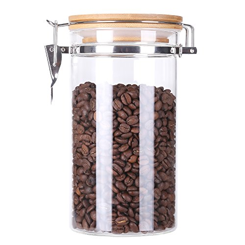 Poise3EHome 39 FL-OZ Large Coffee Canister, Container, Jar for Ground or Whole Bean, Glass Body and Bamboo Cap 0.3 US GAL Capacity (Storage Airtight Coffee)