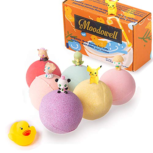 Shower Bubble Bath Bombs for Kids with 6 Surprise Toys Inside, Bath Fizzies with Pokemon/Cat/Duck for Children (Kids - 6 toys Inside)
